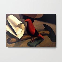 Still Life with a Red Bird portrait painting by Tamara de Lempicka Metal Print
