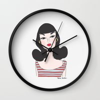 barbie Wall Clocks featuring Retro barbie by uzualsunday