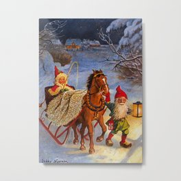 """""""Sled Ride at Night"""" by Jenny Nystrom Metal Print"""