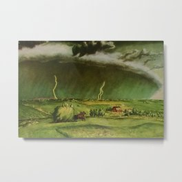 The Line Storm - Thunder and Lightning on the American Plains by John Steuart Curry Metal Print