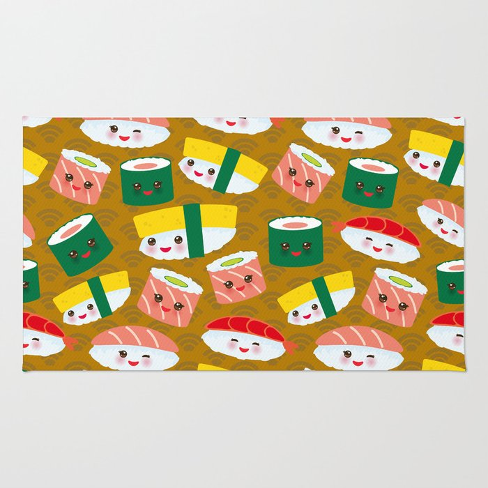 pattern Kawaii funny sushi set with pink cheeks and big eyes, emoji on brown mustard background Rug