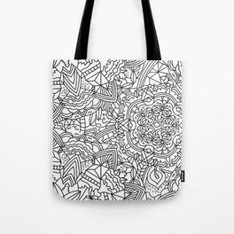Detailed Mandala Frenzy Black and White Tote Bag