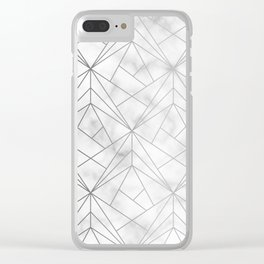 Geometric Silver Pattern on Marble Texture Clear iPhone Case