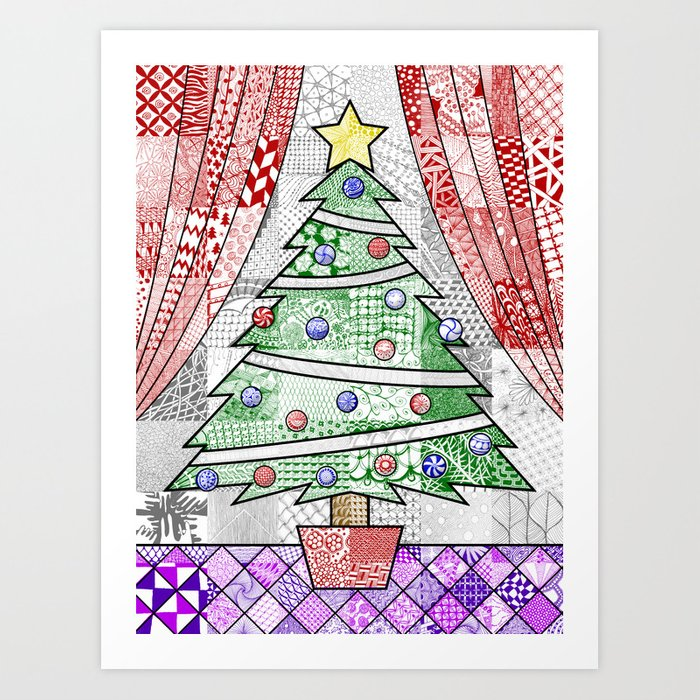 Coloured Christmas Tree Art Print