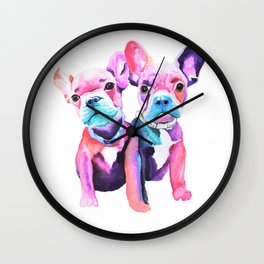 Two Frenchies Wall Clock