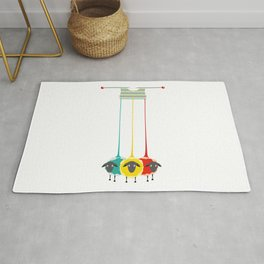 Knitting sheep bright and funny concept Rug