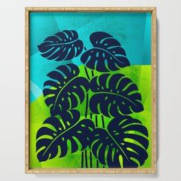 PLANTS - Philodendron#1_abstract bgr Serving Tray