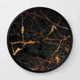 Black Malachite Marble With Gold Veins Wall Clock
