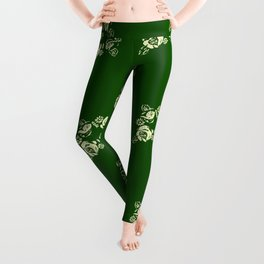 Canalflowers on green pattern Leggings