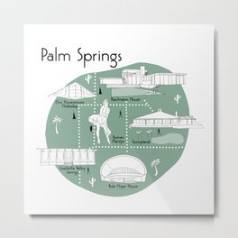 Palm Springs Map - Green Metal Print