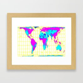 World Map: Gall Peters Colorful Framed Art Print