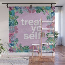 Treat Yo Self Floral Pattern Wall Mural