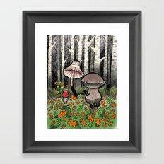 Mushroom Meeting Framed Art Print