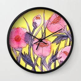 Fever Flowers - pink navy white yellow Wall Clock