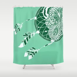 Mint Dreamcatcher Shower Curtain