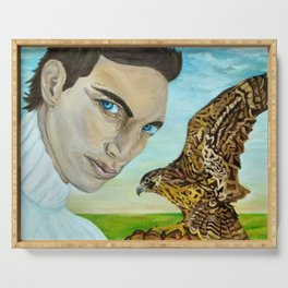 """""""Peale's (Peregrine) Falcon and the Portrait of a Man"""". Serving Tray"""