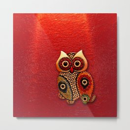 Retro Wood Owl Metal Print