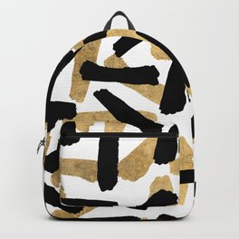 Modern abstract black gold watercolor brushstrokes Backpack