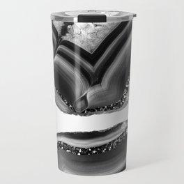 Gray Black White Agate with Black Silver Glitter #1 #gem #decor #art #society6 Travel Mug