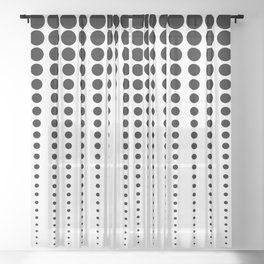 Reduced Black Polka Dots on Solid White Background Minimal Graphic Design Sheer Curtain
