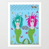 The ghostly mermaids under the sea Art Print