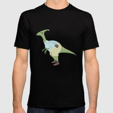 Hipster Dinosaur jams to some indie tunes on his walkman Black MEDIUM Mens Fitted Tee