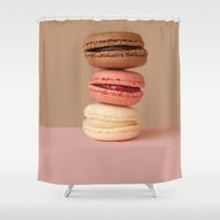 macaron Shower Curtains featuring chocolate macaron by myepicass