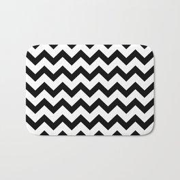 Chevron (Black & White Pattern) Bath Mat