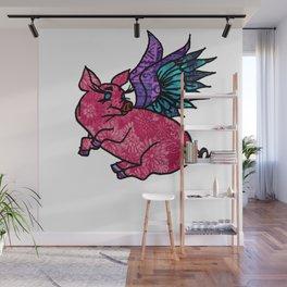 Pig with Wings Dreams Wall Mural
