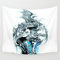dragons Wall Tapestries featuring dragons by Vector Art