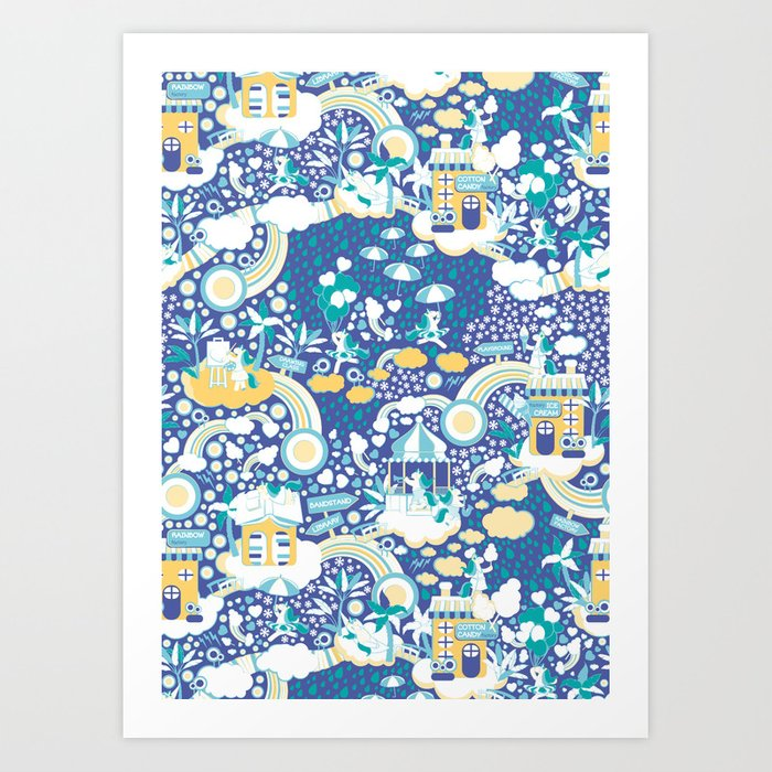 The secret map of Unicorns Village II // indigo blue background Art on flag out, ops out, letter out, print out, school's out, drawing out,