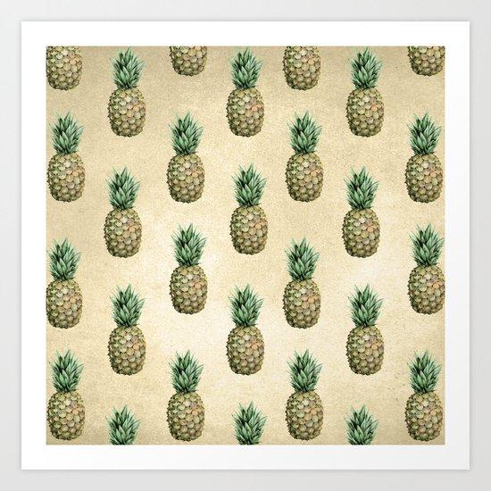 Vintage Pineapple Pattern Linen Art Print