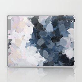 Navy Black Beige Lavender Abstract Art Moonlight Ocean Painting Laptop & iPad Skin