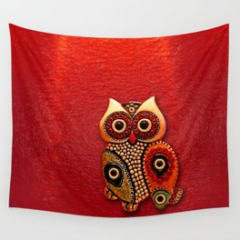 Retro Wood Owl Wall Tapestry