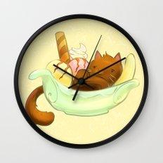 Banana split Cat Wall Clock
