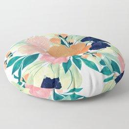 Elegant Pink Blue & Orange Floral Watercolor paint Floor Pillow