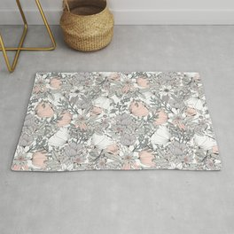 Seamless pattern design with hand drawn flowers and floral elements Rug