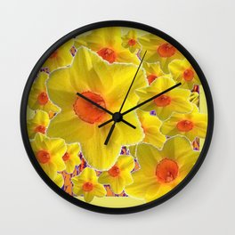 YELLOW-GOLD DAFFODILS FLOWER COLLAGE Wall Clock