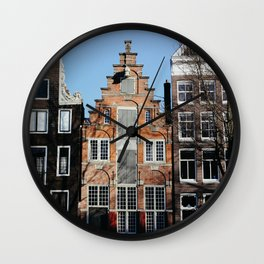 Travel photography | Architecture of Amsterdam | Pastel colored buildings and the canals | The Netherlands Art Print Wall Clock