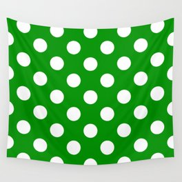 Islamic green - green - White Polka Dots - Pois Pattern Wall Tapestry