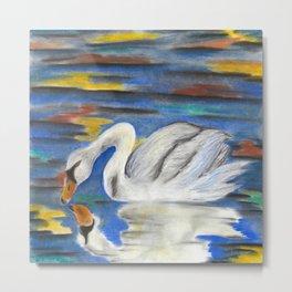 Stop Looking at Me Swan Metal Print