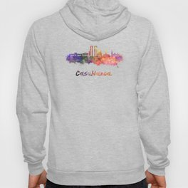 Casablanca skyline in watercolor Hoody
