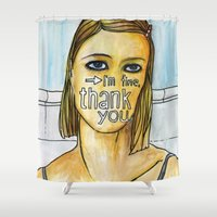 tenenbaum Shower Curtains featuring Margot Tenenbaum. by Piltrafadas Ilustracion