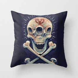 Biohazard triple eye skull Throw Pillow