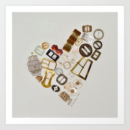 Vintage with a Smile - English vintage Buckle Heart Art Art Print