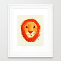 lion Framed Art Prints featuring Sad lion by Lime