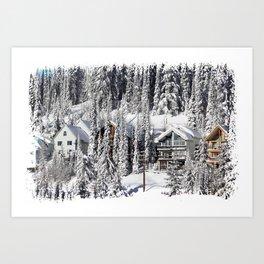 Winter Retreat - Mountain Resort Art Print