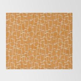Retro Orange Lino Print Geometric Pattern Throw Blanket