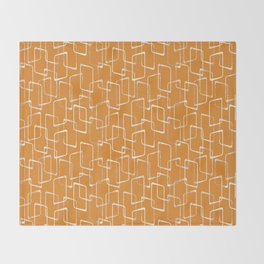 Retro Orange Lino Print Geometric Pattern Throw Blanket
