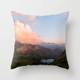 Mountain lake in Germany with Moon - landscape photography Throw Pillow